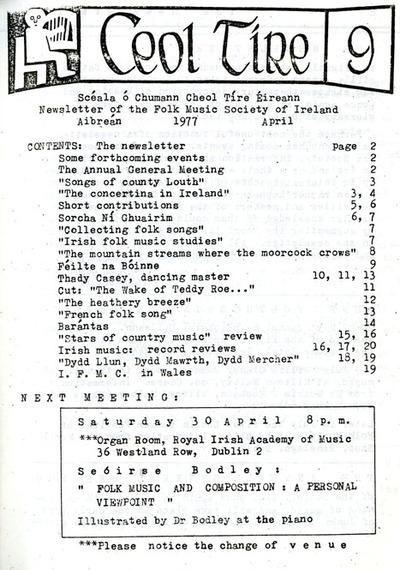 Ceol Tíre 9, April 1977