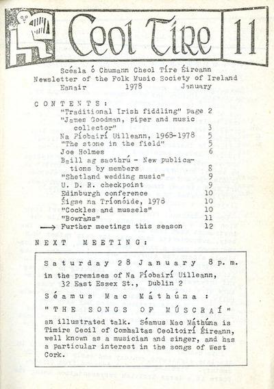 Ceol Tíre 11, January 1978