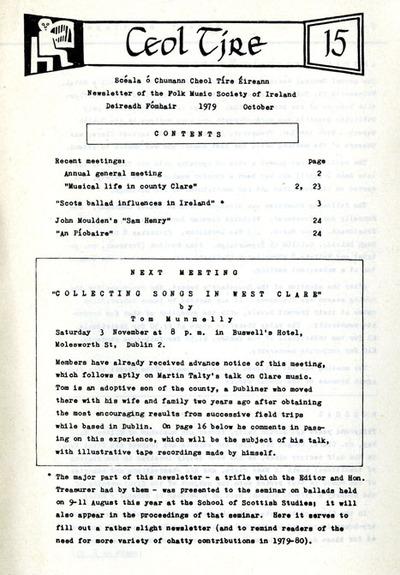Ceol Tíre 15, October 1979