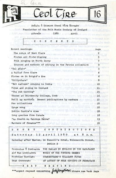 Ceol Tíre 16, April 1980