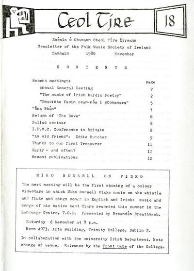 Ceol Tíre 18, November 1980