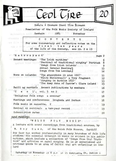 Ceol Tíre 20, November 1981