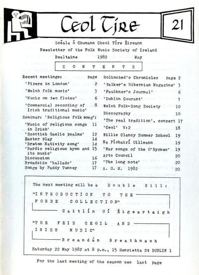 Ceol Tíre 21, May 1982