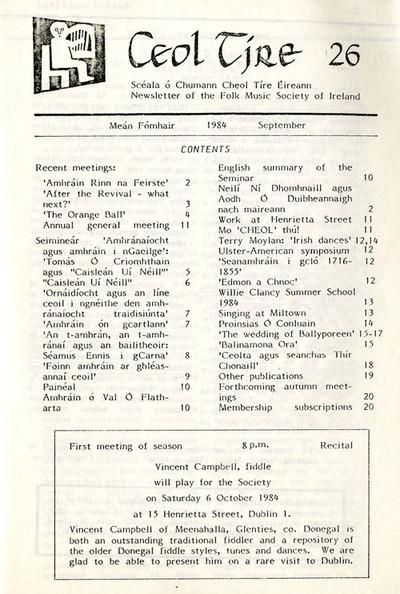 Ceol Tíre 26, September 1984
