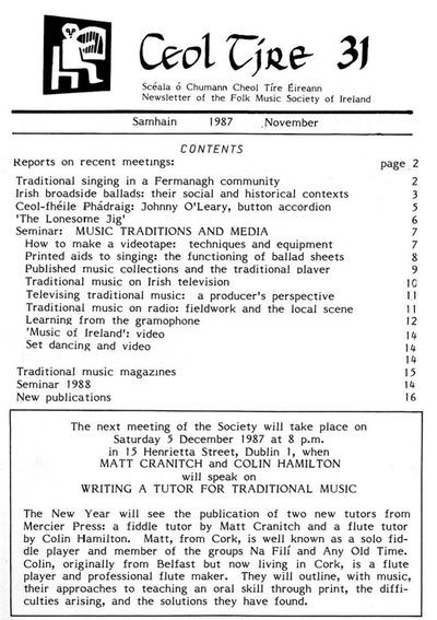 Ceol Tíre 31, November 1987