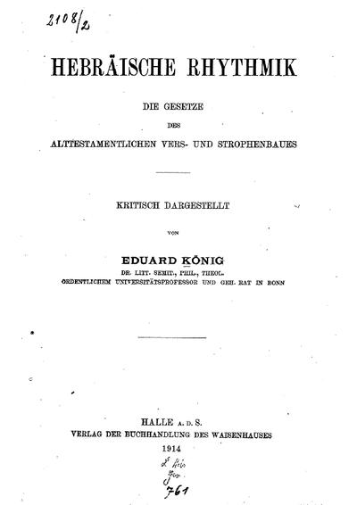 Hebräische Rhythmik : die Gesetze des alttestamentlichen Vers- und Strophenbaues