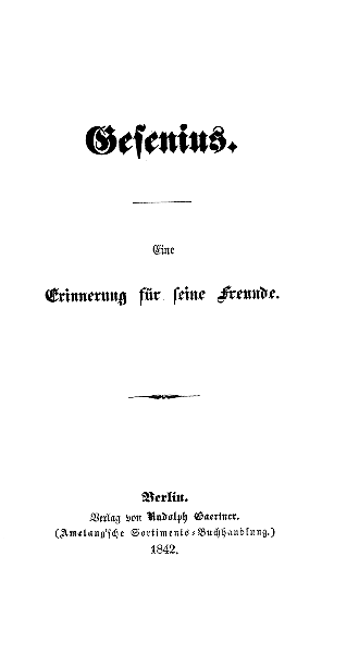 Gesenius : eine Erinnerung für seine Freunde