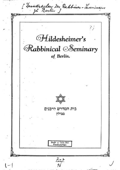 [Drucksachen des] Rabbiner-Seminars zu Berlin