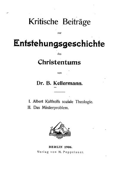 Kritische Beiträge zur Entstehungsgeschichte des Christentums