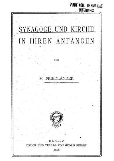 Synagoge und Kirche in ihren Anfängen