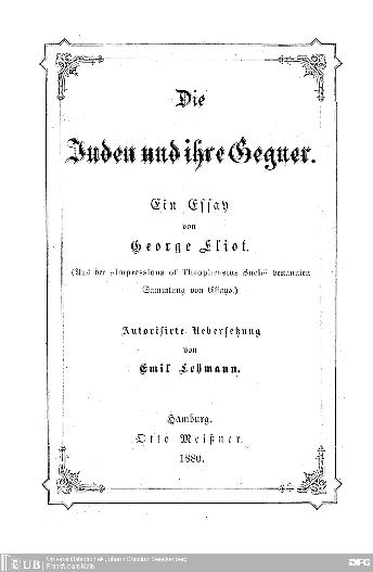 Die Juden und ihre Gegner : ein Essay ; (aus d.