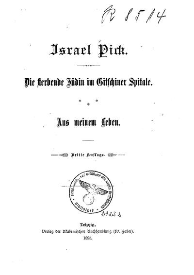 Die sterbende Jüdin im Gitschiner Spitale