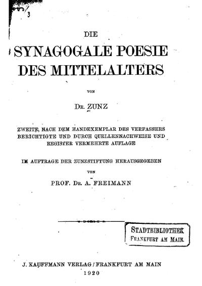 Die synagogale Poesie des Mittelalters