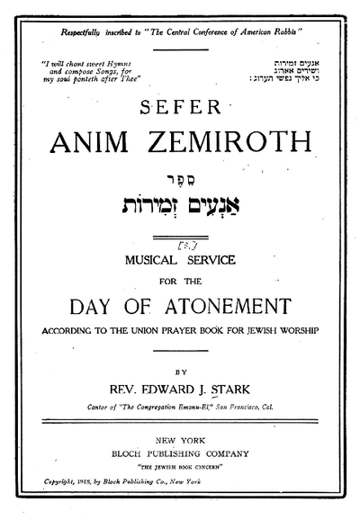 Musical service for the Day of Atonement : according to the union prayer book for jewish worship