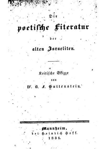 Die poetische Literatur der alten Israeliten : kritische Skizze