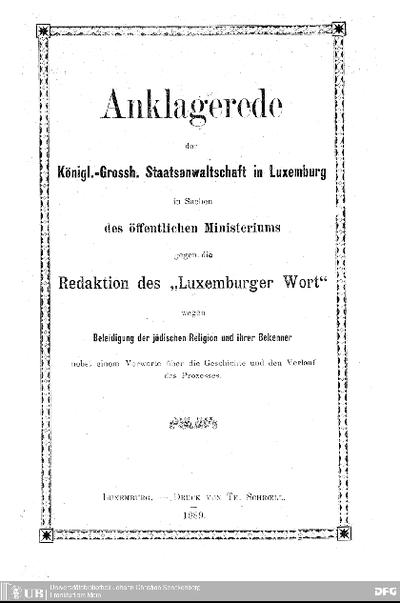 Anklagerede gehalten von Camill Velter in der Sitzung des Zuchtpolizeigerichtes am 12. März 1889 in Sachen des öffentlichen Ministeriums gegen die Redaktion des