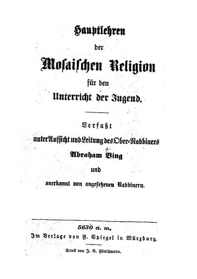 Hauptlehren der mosaischen Religion für den Unterricht der Jugend