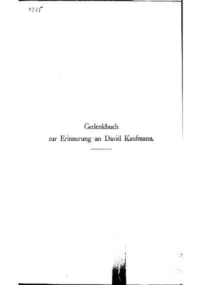 Gedenkbuch zur Erinnerung an David Kaufmann