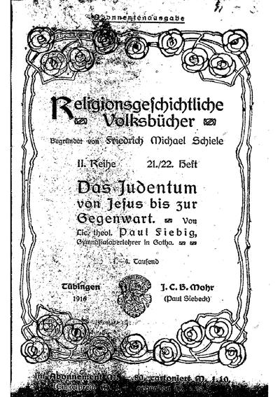 Das Judentum von Jesus bis zur Gegenwart