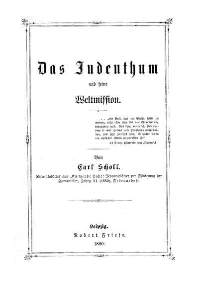 Das Judenthum und seine Weltmission