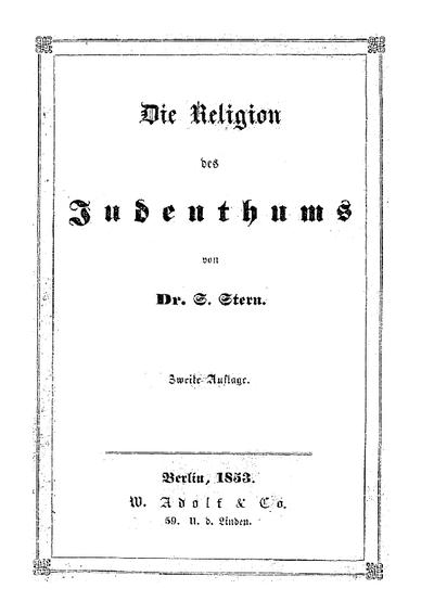 Die Religion des Judenthums