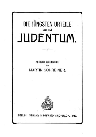 Die jüngsten Urteile über das Judentum