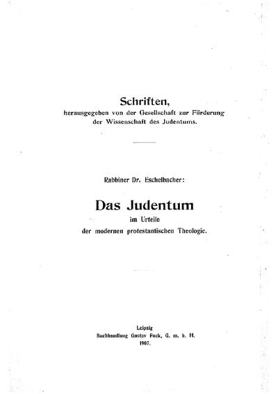 Das Judentum im Urteile der modernen protestantischen Theologie