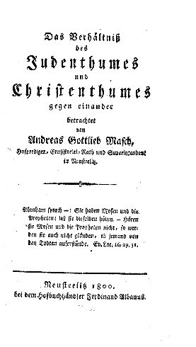 Das Verhältniß des Judenthumes und Christenthumes gegen einander betrachtet