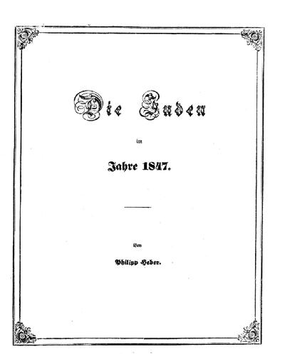 Die Juden im Jahre 1847