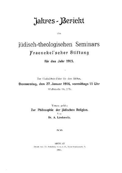 Zur Philosophie der jüdischen Religion