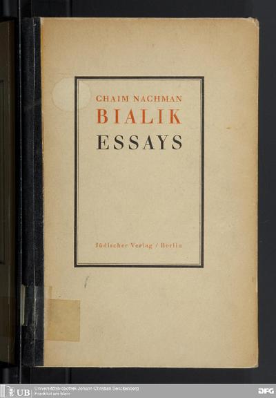 Essays : autorisierte Übertragung aus dem Hebräischen von Viktor Kellner