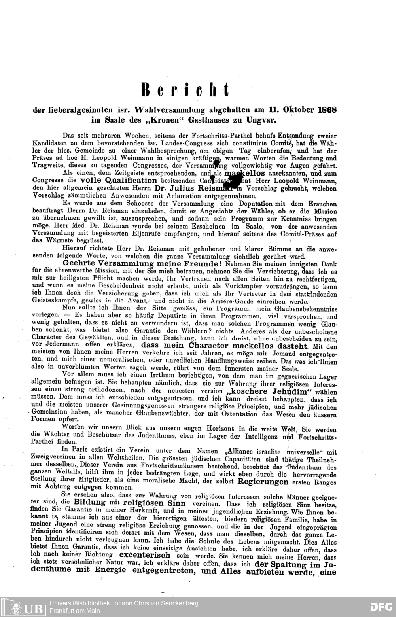 [Flugblätter] : Bericht der lieberalgesinnten isr. Wahlversammlung : abgehalten am 11. Okt. 1868 im Saale des Kronen Gausthauses zu Ungvar