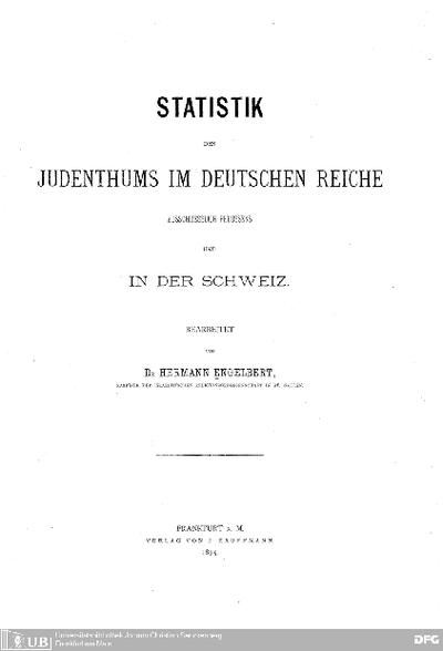Statistik des Judenthums im Deutschen Reiche ausschließlich Preußens und in der Schweiz