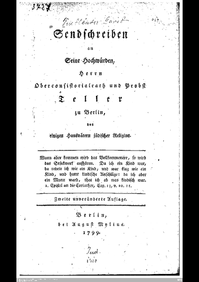 Sendschreiben an Seine Hochwürden, Herrn Oberconsistorialrath und Probst Teller zu Berlin, von einigen Hausvätern jüdischer Religion