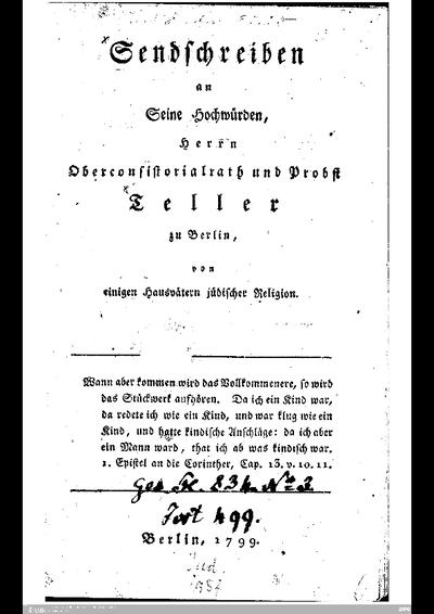 Sendschreiben an Seine Hochwürden Herrn Oberconsistorialrath und Probst Teller zu Berlin von einigen Hausvätern jüdischer Religion