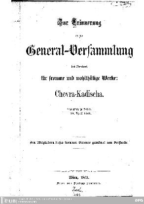 Zur Erinnerung an die General-Versammlung des Vereines ... 19. April 1863