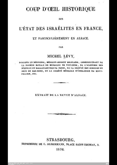 Coup d'oeil historique sur l'état des Israélites en France, et particulièrement en Alsace