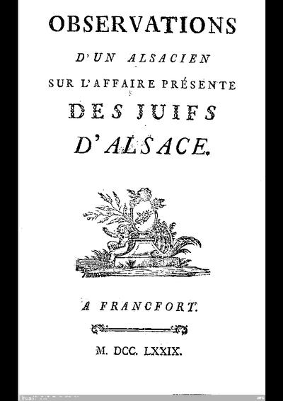 Observations d'un Alsacien sur l'affaire présenté des juifs d'Alsace