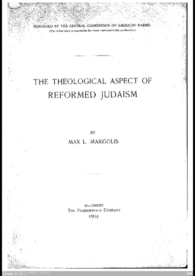 The theological aspect of reformed judaism