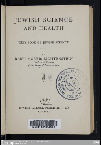 Jewish science and health : text book of Jewish science