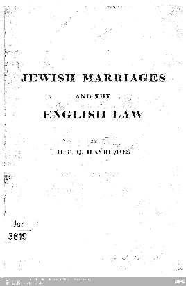 Jewish marriages and the English law