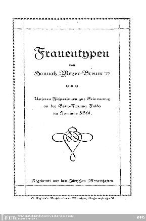 Frauentypen : unseren Führerinnen z. Erinnerung an d. Esra-Tagung Fulda im Tammus 5681