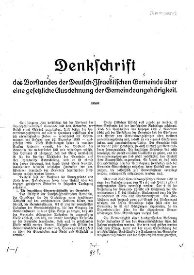 Denkschrift des Vorstandes der Deutsch-Israelitischen Gemeinde über eine gesetzliche Ausdehnung der Gemeindeangehörigkeit