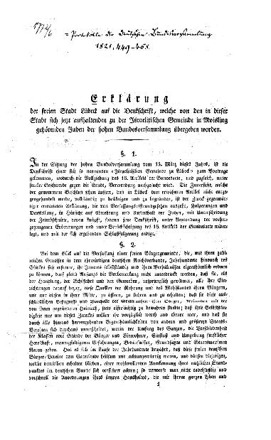 Erklärung der freien Stadt Lübeck auf die Denkschrift, welche von den in dieser Stadt sich jetzt aufhaltenden zu der israelitischen Gemeinde in Moisling gehörenden Juden der hohen Bundesversammlung übergeben worden