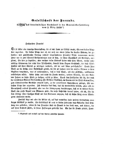 Vortrag des interimistischen Vorstehers [d.i. Josef Lehmann] in der General-Versammlung vom 3. März 1839