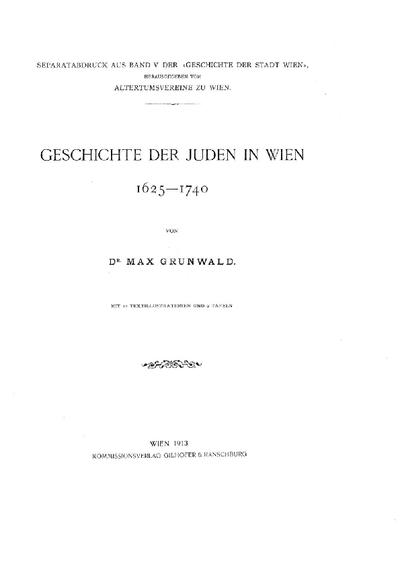 Geschichte der Juden in Wien : 1625 - 1740