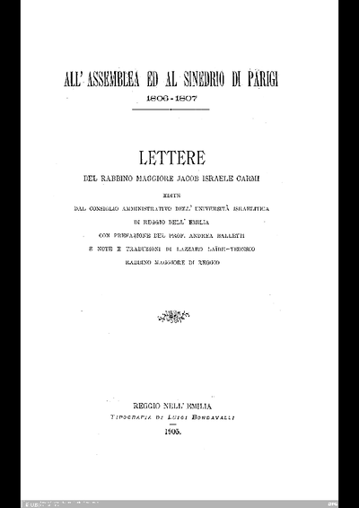 Lettre del Jacob Israele Carmi : All'assemblea ed al sinedrio di Parigi ; 1806 - 1807