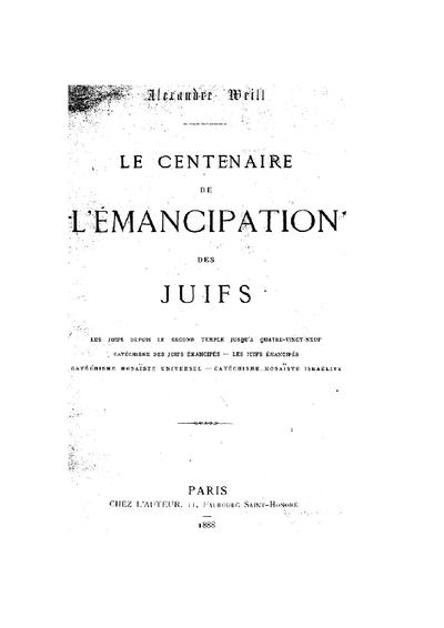 Le centenaire de l'émancipation des Juifs