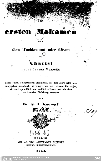 Die ersten Makamen aus dem Tachkemoni oder Divan des Charisi [Jehūda al-Harīzī] : nebst dessen Vorr.