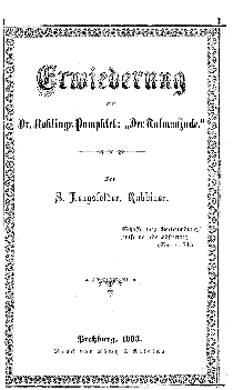 Erwiederung auf Dr. Rohlings Pamphlet :